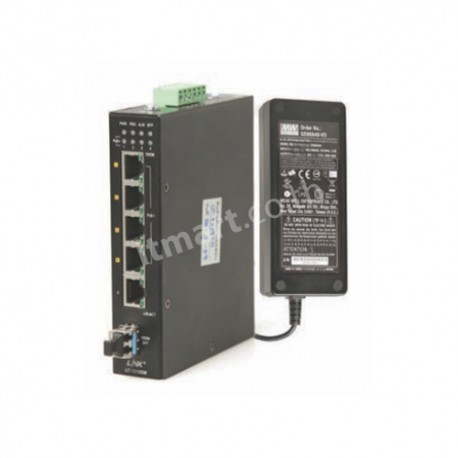 Link RJ45-LC (MM) 4 x 10/100/1000 Mbps SX Media Convector w/PoE, 550 m. (160W Hardend Adaptor)